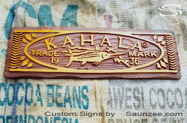 SAUNZEE Custom 3D Wood Look Molded Signs Rigid Polyurethane Foam Signage Swordfish Marine Sign Game Fishing Sign Visual Marketing Signs Sport fish Sign Outdoor Signs Kahala Store Sign