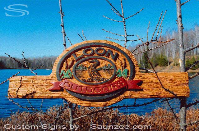 SAUNZEE Custom 3D Wood Look Molded Signs Rigid Polyurethane Foam Signs 3 Dimensional Carved Wood Sign Sandblast Sign Sandblasted Sign Sculpted Wooden Sign Creative Cabin Signs Outdoors Resort Cottage Lake Signs Loon