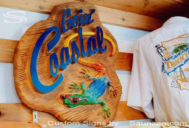 SAUNZEE Custom 3D Wood Look Molded Signs Rigid Polyurethane Foam Signs 3 Dimensional Carved Wood Sign Sandblast Sign Sandblasted Sign Sculpted Wooden Sign Creative Signs Point of Purchase Signage Visual Marketing Signs Goin Coastal