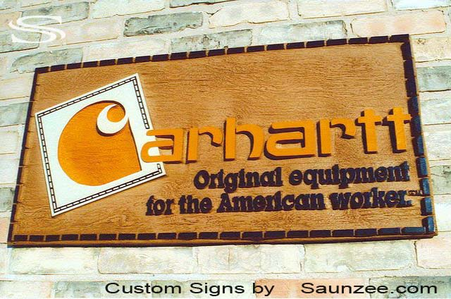SAUNZEE Custom 3D Wood Look Molded Signs Rigid Polyurethane Foam Signs Carved Wood Sign Sandblast Signs Visual Marketing POP Signs Ranch Store Sign Business Signs Carhartt Sign American Work Sign