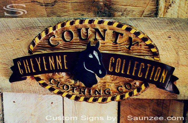 SAUNZEE Custom 3D Wood Look Molded Signs Rigid Polyurethane Sign Carved Wood Sign Sandblasted Sign Wooden Sign Western Signs Horse Ranch Sign Stable Sign Tack Room Sign Western Store Sign County Sign