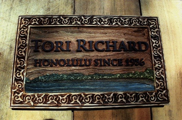 SAUNZEE Custom 3D Wood Look Molded Signs Rigid Polyurethane Sign Decorative Sign Wood Weathered Sign Island Resort Sign Lobby Sign Rustic Sign Island Cove Sign Tori Richard Honolulu
