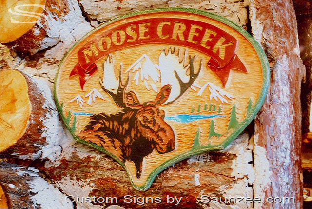 SAUNZEE Custom Molded Wood Look Foam Signs Hand Carved Sign Wooden Carved Sign Outdoor Sign Log Cabin Sign Lodge Sign Resort Sign Chalet Sign Cottage Sign Summer Home Sign Moose Creek