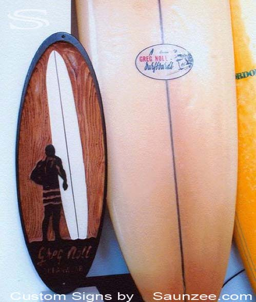 SAUNZEE Custom Wood Look Foam Molded Signs 3D Molded Rigid Polyurethane Foam Signs Surfshop Sign Big Wave Surfboards Signs Surf Culture sign Greg Noll Longboards Surfsign