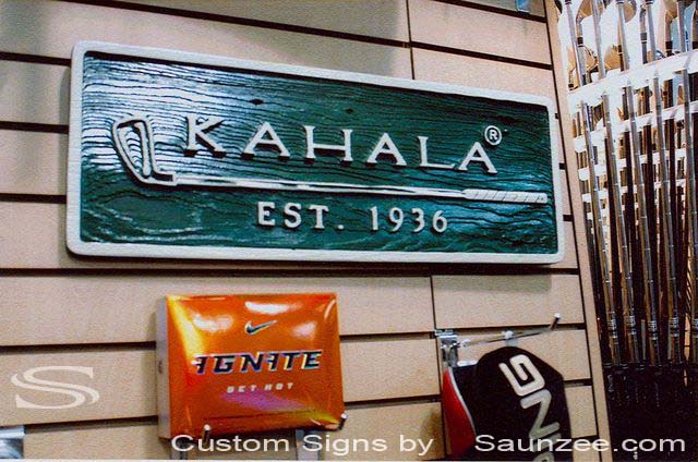 SAUNZEE Custom Wood Look Molded Signs 3D Molded Foam Signage Sandblasted Carved Wood Sign Retail Visual Merchandising Signage Golf Club Sign Golf Store Point of Purchase Sign Golf Clubs POP Marketing Signs Kahala Golf Sign