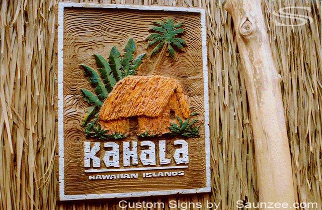 SAUNZEE Custom Wood Look Molded Signs 3D Molded Rigid Polyurethane Foam Signage 3 Dimensional Carved Wood Sign Sandblast Sign Sandblasted Sign Sculpted Wooden Sign Creative Point of Purchase Sign POP Marketing Signs Kahala Hut Hawaiian Islands
