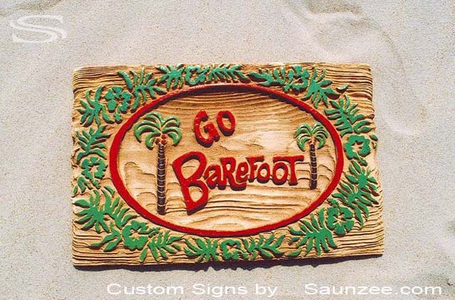 SAUNZEE Custom Wood Look Molded Signs 3D Molded Rigid Polyurethane Foam Signs Driftwood Weathered Signs Sand Blast Sign Carved Wood Sign Sandblasted Sign Promotional Signs Advertising Sign Resort Store Sign Go Barefoot