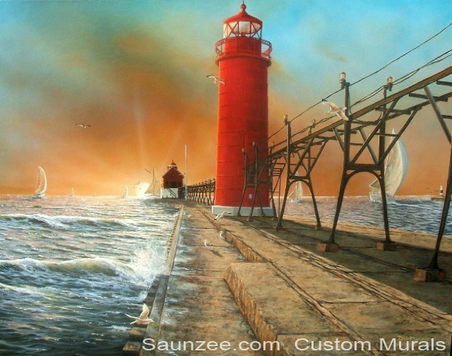 Saunzee Custom Painting Art Wall Mural Murals Muralis Grand Haven Peir Light House Michigan Canvas Prints