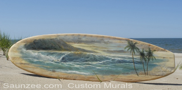 Saunzee Custom Painting Mural Murals Wood Surfboard Tropical Surfart Surf Art Island Landscape Shoreline Ocean Wave