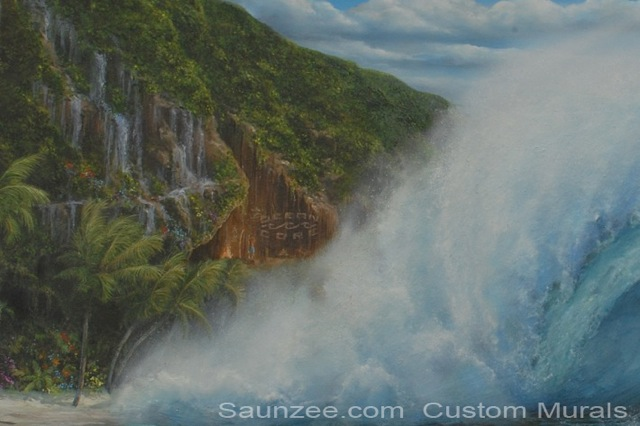 Saunzee Custom Painting Wall Mural Murals Muralis Murus Surf Art Tropical Island Cave Beach Shoreline Big Ocean Wave