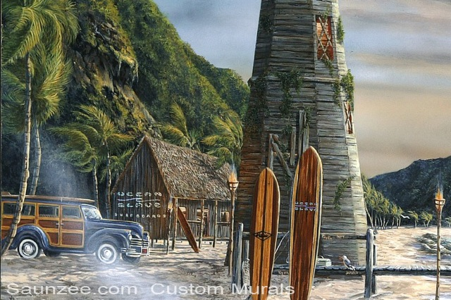 Saunzee Custom Painting Wall Mural Murals Muralis Murus Surf Art Tropical Island Surf Shack Beach Cruiser Woody Hut Longboards