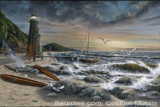 Saunzee Custom Painting Wall Mural Murals Muralis Murus Surf Art Tropical Island Surf Shack Beach Shoreline Longboards Lighthouse