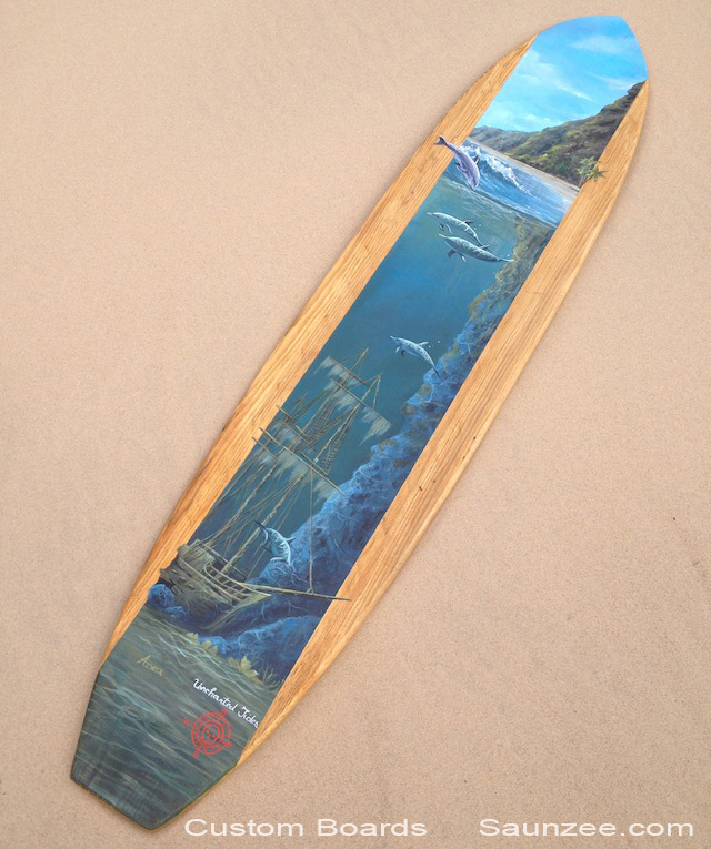 Saunzee Custom Painting Wood Surfboards Tropical Surf Decor Wooden Surfboards Surfart Surf Art Island Landscape Uncharted Tides Longboards