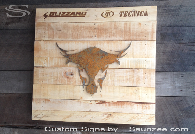 Saunzee Custom 3D Pallet Wood Signs Wooden Pallets Signs Point of Purchase Signs  Rusty Metal Signs Crate Wood Sign Recycled Pallet Wood Signage Blizzard Ski Signs Tecnica