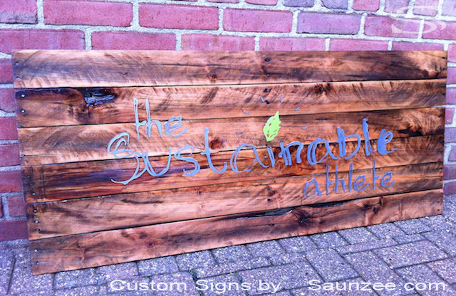 Saunzee Custom Pallet Signs Pallets Signs Business Pallet Rustic Wood Signs Cherry Wooden Pallet Sign Crate Wood Sign Recycle Signs Recycled Pallet Wood Sign The Sustainable Athlete Signage