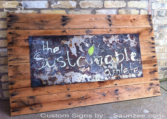 Saunzee Custom Pallet Signs Pallets Signs Business Pallet Rustic Wood Signs Wooden Pallet Sign Crate Wood Sign Recycle Signs Recycled Pallet Wood Sign The Sustainable Athlete Signage