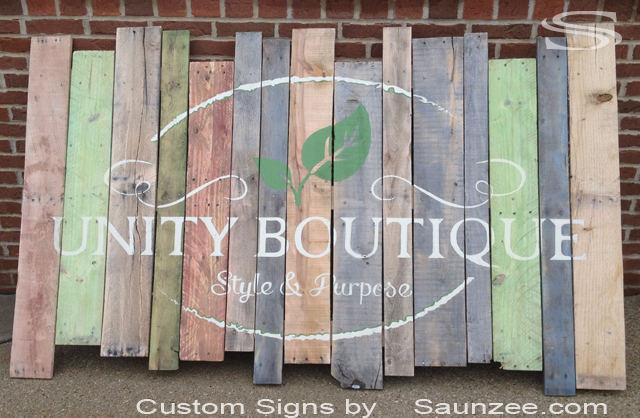 Saunzee Custom Pallet Signs Pallets Signs Business Pallet Rustic Wood Signs Wooden Pallet Sign Crate Wood Sign Recycle Signs Recycled Pallet Wood Sign Unity Boutique Store Signage