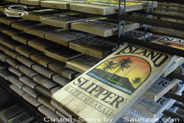 Saunzee Custom Sign Makers Wood Signs Timber Signs BarnWood Signs Rustic Signage Wooden Signs Island Slipper Production Signs