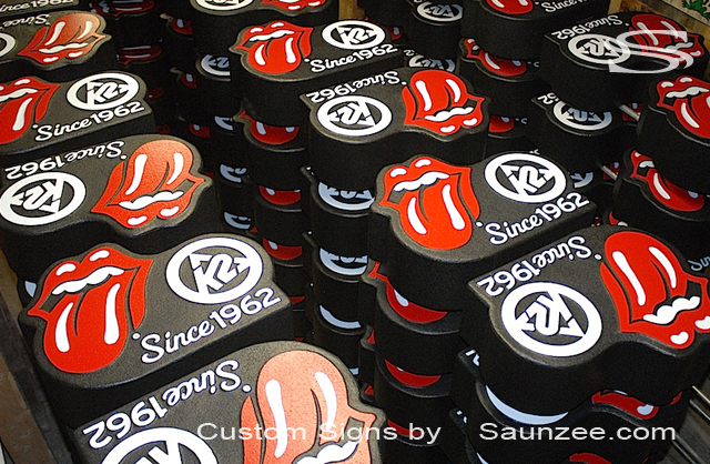 Saunzee Custom Signs Displays English Rock group Rolling Stones Signs K2 Ski Signs Production Signs Visual Marketing Sign POP Advertising Signs Point of Purchase Sign Singer Mick Jagger Guitarist Keith Richards Since 1962