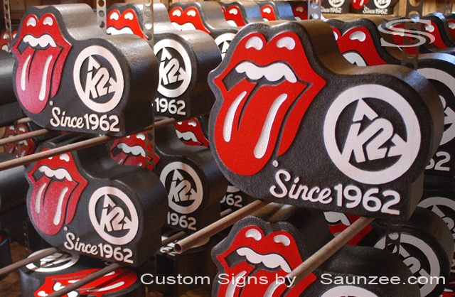 Saunzee Custom Signs Displays English Rock group Rolling Stones Signs K2 Sports Signs Production Signs Visual Marketing Sign POP Advertising Signs Ski Shop Signs Rock and Roll Sign Singer Mick Jagger Guitarist Keith Richards Since 1962