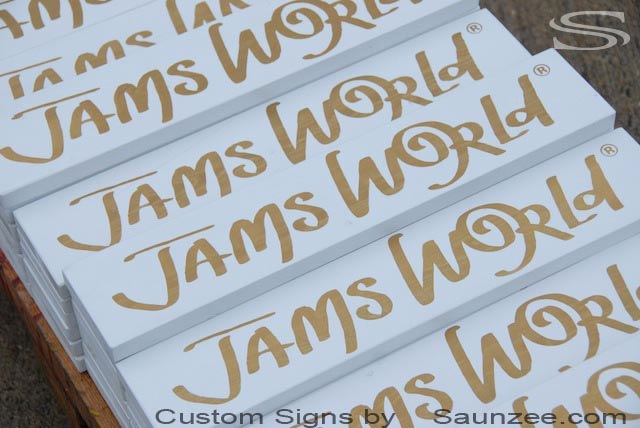 Saunzee Custom High End Signs Gloss White Shine or Luster on a Smooth Surface Action or Business of promoting and Selling  Products or Services Including Market Research Advertising Jams World Signage