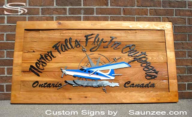 SAUNZEE Custom Cedar Wood Sandblasted Sign Carved-Signs-Lodge Sign Beautiful Sign OutSide Business Sign Cedar Wood Sandblast Sign Cabin Signs Nester Falls Fiy In Outpost Fishing Sign