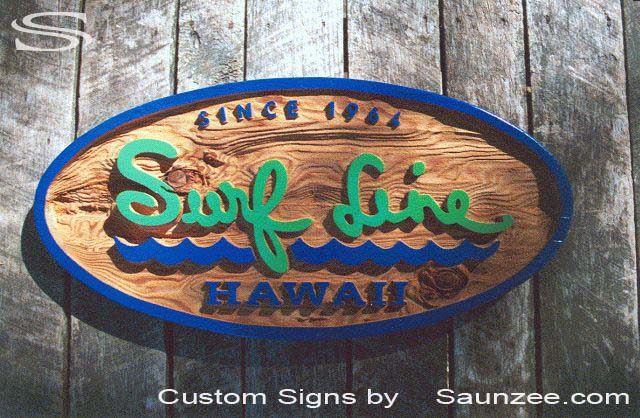 SAUNZEE Custom Cedar Wood Sandblasted Signs Sandblast-Sign-3 Dimensional Signs Carved Away Wooden SandBlast Sign Rustic Wooden Sign Hawaiian Sign Wooden Sign SurfShop Sign Surf Line Hawaii