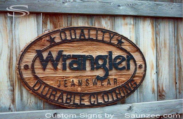 SAUNZEE Custom Cedar Wood Sandblasted Signs Sandblast Sign 3 Dimensional Signs Carved Away Wooden SandBlast Sign Rustic Wooden Western Sign Cowboy Sign Wooden Sign Wrangler Jeans Sign