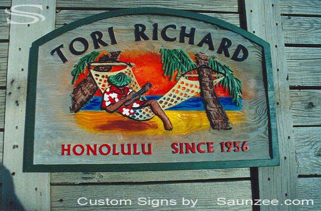SAUNZEE Custom Wood Sandblasted Signs Sandblast Sign 3 Dimensional Sculpture Signs Wooden SandBlast Sign Wooden SandBlasted Sign Carved Away Wood Sign Retailer Store Sign Tori Richard Honolulu Hawaii