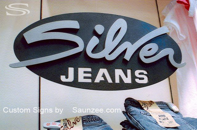 Saunzee Custom Laser Cut Out Sign 3D Off Set Sign Store Display Sign Blue Jeans Sign Visual Marketing Sign pop Advertising Sign High End Sign Clean Cut Sign Showroom Signage Silver Jeans Sign