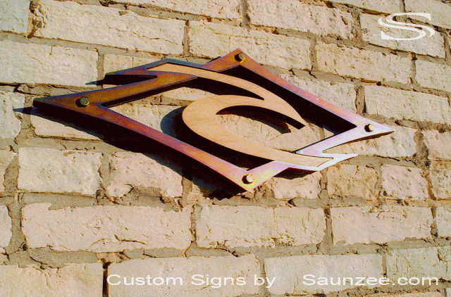 Saunzee Custom Lobby Signs 3D Sign Office Sign Business Sign Conference Room Sign Steel Wood Mix Signage High End Look Sign Seethru Sign RipCurl Sign