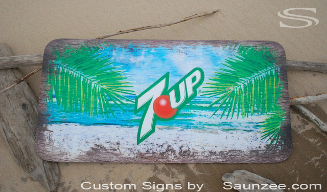 Saunzee Custom Signs Thin Weathered Look Wood Sign POP Sign Soft Drink Sign Summer Beach Refreshing 7up Sign Lemon lime soda