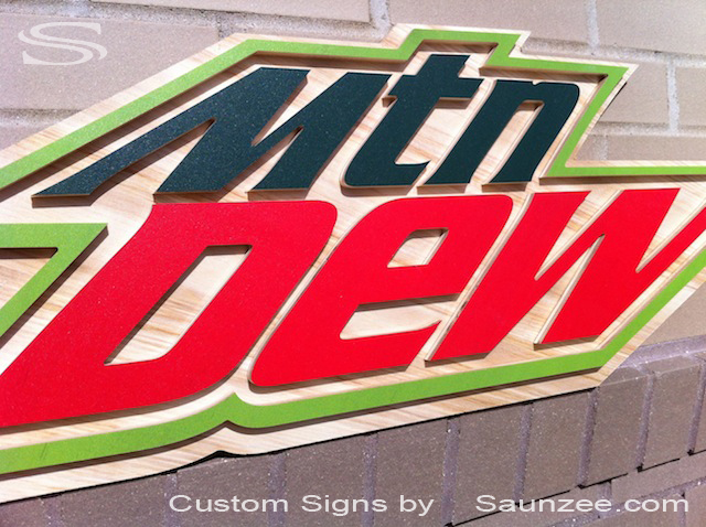 Saunzee Custom 3D Mountain Dew Signs POP Signs Hillbilly Mtn Dew Signs 3D Ply Wood Green Signs 3D Classic American Advertising Signage Soda Pop Sign Food Beverage Service Signage