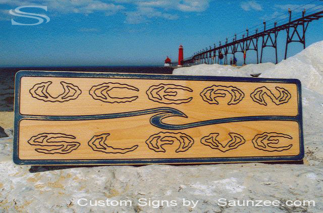 Saunzee Custom Laser Engraved Sign Laser Etch Sign Surf Signs Maple Ply Wood Signs Surf Shop Merchandising Signage Ocean Slave Sign