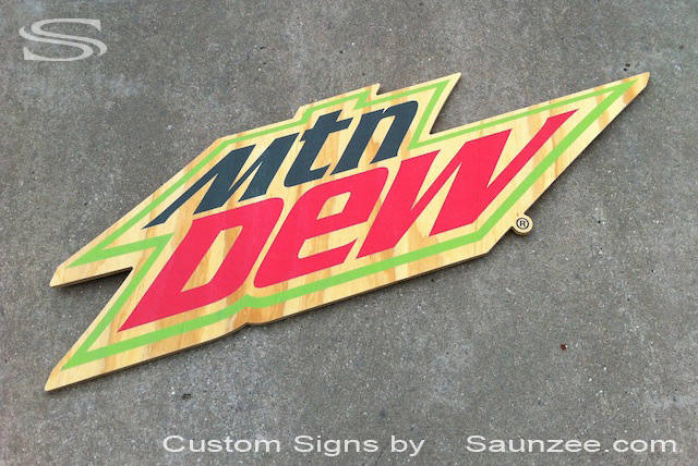 Saunzee Custom Mountain Dew Signs POP Signs Hillbilly Mtn Dew Signs Ply Wood Green Signs Classic American Advertising Signage Soda Pop Sign Food Beverage Service Signage