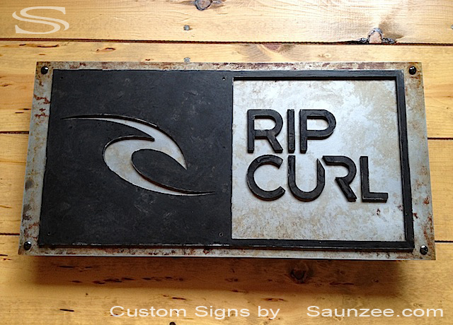 Saunzee Custom Surf Shop Signs 3d Rusty Metal Surf Sign Surf Store Sign Aged Weathered Metal Sign Surf Logo Signs Surf City Signs Board Shop Signs Surfboard Signs Rip Curl Signage