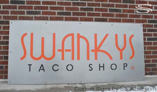 Saunzee Custom Store Front Sign Laser Cut Out Metal Panel Sign Commercial Signs Business Sign Restaurant Sign Taco Shop Sign Fast Food Sign Strip Mall Signs Retailer Sign