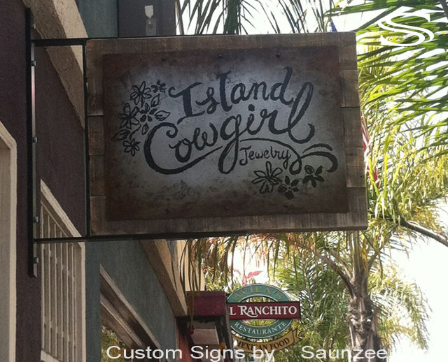 Saunzee Custom Store Front Sign Rusty Weathered Metal Sign Rustic Old Wooden Sign Western Signs Jewelry Shop Signs Island CowGirl Sign