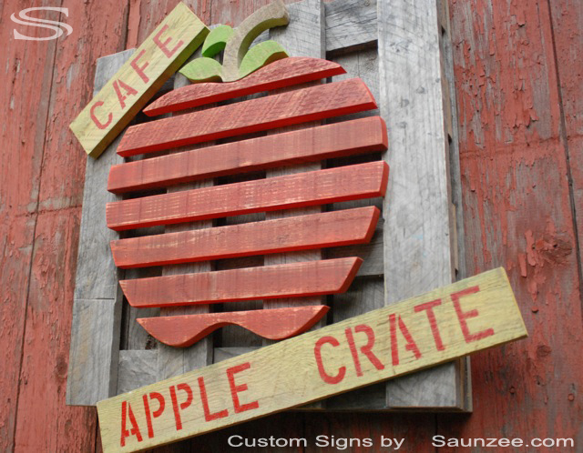 Saunzee Custom Store Front Signs Cafe Sign Cafe Signs Apple Juice Java Sign Rustic Signs 3D Barn Wood Signs Off Set Sign Weathered Crate Wood Sign Wooden Outdoor Sign Coffee Shop Diner Sign Apple Cider Shop Sign