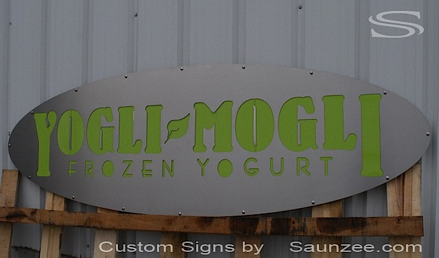 Saunzee Custom Store Front Signs Stainless Steel Sign Material Sign Retail Shop Sign Laser Cutout Steel Plate Signage Fast Food Sign Store Sign Yogli Mogli Sign Frozen Yogurt Sign
