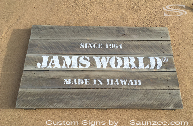 Saunzee Custom Vintage Old Wooden Sign Driftwood Boards Outdoor Tourist Shop Sign Weathered Old Driftwood Sign Jams World Sign Hawaiian Signs