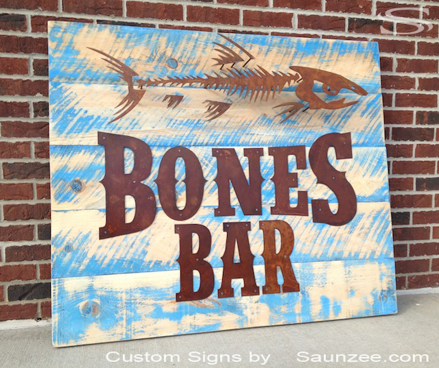 Saunzee Custom 3D Commercial Sign Makers Restaurant Sign Rustic Old Wood Bar Sign Pub Signs Rusty Metal Letters Nailed to Weathered Drift Wood Sign Long Lasting Out Door Signs Old Looking Signs