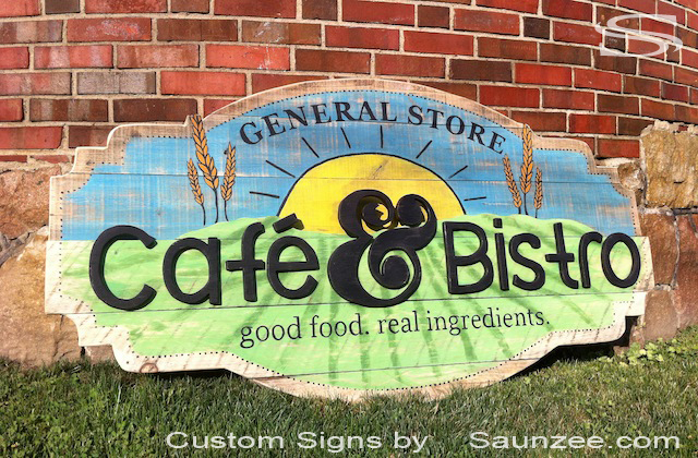Saunzee Custom 3D Storefront Signs Rustic Barn Wood Signs General Store Commercial Business Signs Cafe Shop Sign Weathered Beautiful Barn Wood Signage Cafe Bistro