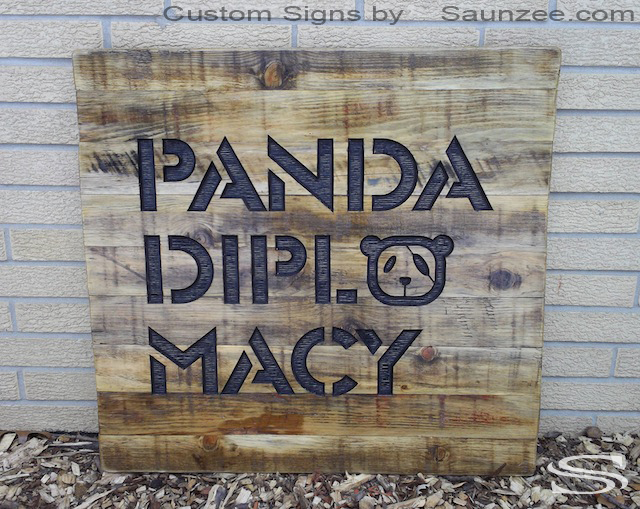 Saunzee Custom 3d Wood Carved Sign Outdoor Commercial Business Signs Zoo Signs Rustic Branded Wood Sign Burned In to Wood Sign Strip Mall Store Front Signage Long Lasting Timber Signs Panda Liberaed China Sign