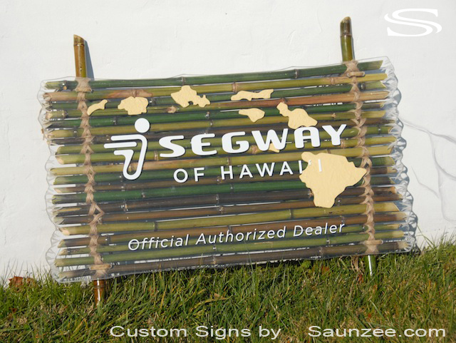 Saunzee Custom Bamboo Signs Commercial Business Signs 3D Small Business Signs Bamboo Hawaiian Signs Green Bamboos Signage Island Tours Signage Segway of Hawaii Sign Official Authorized Dealer Store Front Signs