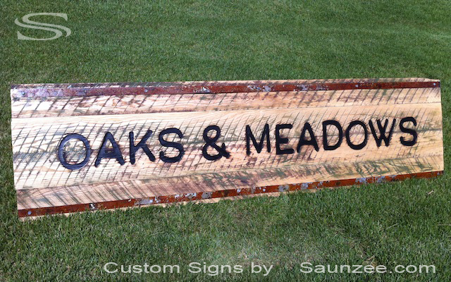 Saunzee Custom Branded Wood Burned Signs Natural Rustic Weathered Oak Wood Burned Sign Logo Burned Deep in to Wood Burn-out Letters in Wood Signs Beautiful Aged Wooden Store Front Signs Oaks and Meadows