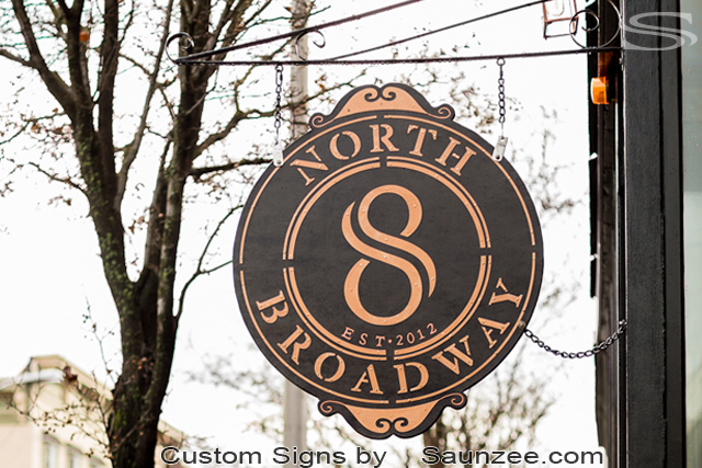 Saunzee Custom Restaurant Sign High Quality Business Signs and Corporate Signage For Restaurants Signs Bars Signs Pubs Signs Outdoor Signs Commercial Signs Copper Metal Looking North Eight Broadway New York City Sign 8