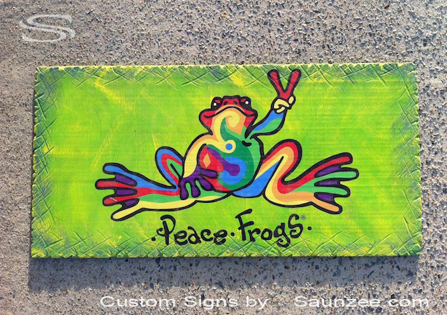Saunzee Custom Store Front Signs Green Signs Go Green Peace Frogs Store Sign Bright Colorful Signs Strip Mall Store Front Sign Peace Signs Commercial Signs Business Signs Resort Shop Signs