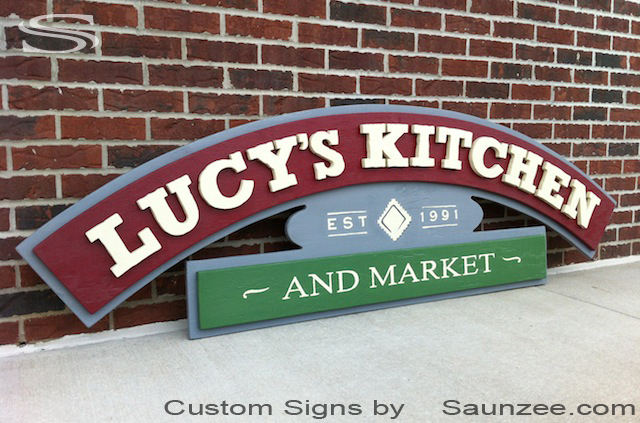 Saunzee Custom Three dimensional Restaurant Signs Ply Wood Signs Restaurant Business Signs Commercial Signs Custom Diner Signage Lucys Kitchen Market Signs