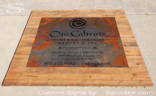 Saunzee Custom Timber Wood Billboard Large Rustic Resort Sign Outdoor Big Commercial Business Signs Restaurant Sign Ojo Caliente Mineral Springs Resort and Spa Sign